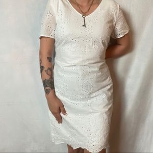 TALBOTS WHITE EYELET LACE COTTON SHIFT DRESS
